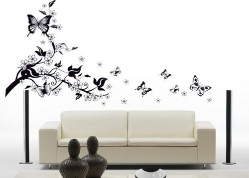 Floral Butterfly Vine Wall Sticker Art Decor Mural Living Room Wall Decal Vinyl front-990013
