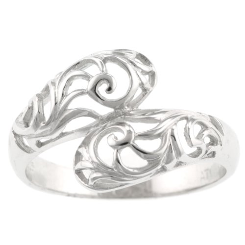 Sterling Silver Filigree By-Pass Ring, Size 6