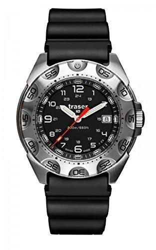 Traser 105471 Men's Professional Survivor Black Rubber Band Black Dial Watch