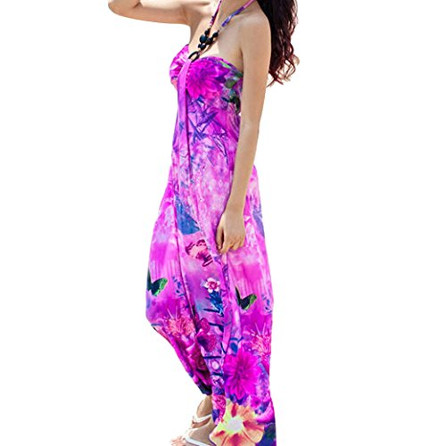 Sexy Women Ladies Hater Printed Sling Boho Long Maxi Dress Size L- Rose Red