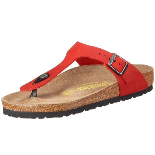 Birkenstock Gizeh Natural Leather, Style-No. 643851, Unisex Thong Sandals, Red, EU 41, normal width