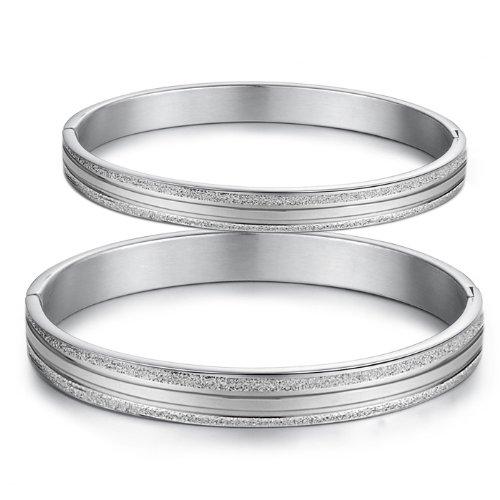 bigsoho Fashion Vintage Dull Polish Silver Sparkle Titanium Stainless Steel Men/Women Bangle Couple Bracelets