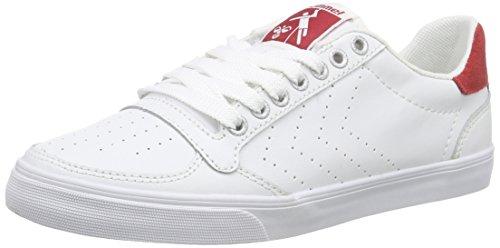 HummelSLIMMER STADIL ACE - Scarpe da Ginnastica Basse Unisex - Adulto , Bianco (Weiß (White/Red 9134)), 42