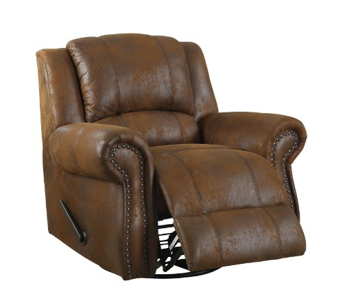 Homelegance 9708BJ-1 Swivel Rocker Microfiber Recliner Chair, Brown Bomber-Jacket