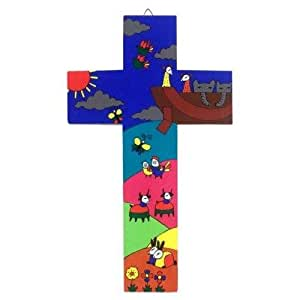 Wood Cross. 15 cms Wood Cross. Christening Gift. Confirmation Gift. Baptism Gift.Confirmation Present.Fair Trade Cross. Noah's Ark Cross. Child's Cross
