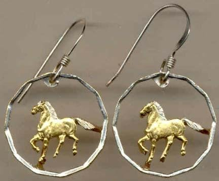 Uruguay 10 Centesimal ÒHorseÒ Two Toned Coin Cut Out Earrings