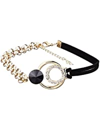 Avant Garde Black ,Gold & Crystal Designer High Quality Trendy Party Choker Necklace For Women And Girls(AG118)