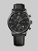 BOSS Black Leather Strap Chronograph Watch