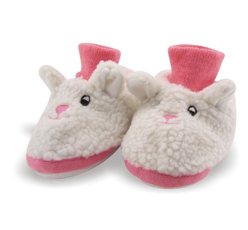 Cheap Bunny Rabbit Toddler Sock Top Bootie White and Pink Faux Fur Slippers (B004P4XCFM)
