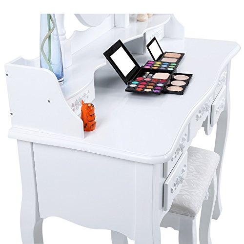 Songmics wall fixed dressing table set 7 drawers with 2 for Miroir 90 x 40