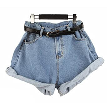 """ISASSY Women Ladies Vintage Blue Frayed Loose Baggy slouchy Boyfriend Shorts Stretch Hotpants Denim Jeans, High Waisted Oversize Crimping Jean Shorts Pants Fashion with Belt included, 2 Color Choices (L (Waist 32.3""""), Light Blue)"""