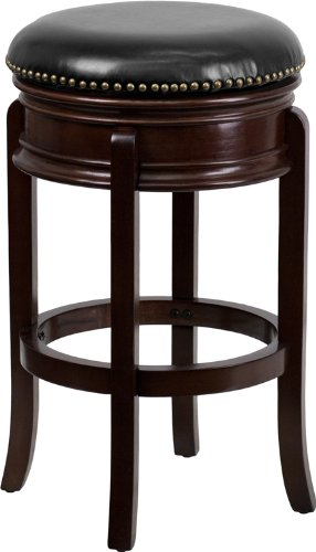 Flash Furniture TA-68829-CA-GG Backless Cappuccino Wood Bar Stool with Black Leather Swivel Seat, 29-Inch