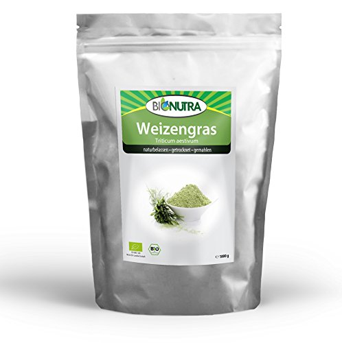 BioNutra Weizengras-Pulver Bio (Triticum aestivum) aus kontrolliert biologischem Anbau (EU Bio-Standard), laborgeprüft, Rohkost, fein gemahlen (1000 g)