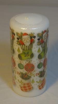 Sebnini Printed Pillar Candle Festive Delight 15cm X 7cm