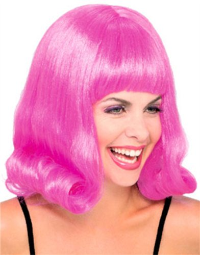 Adult's Vintage Clubbing Style Pink Costume Flip Wig