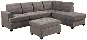 Bobkona Austin 3-Piece Reversible Sectional with Ottoman Sofa Set, Charcoal