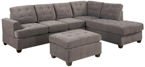 Groovy Bobkona Austin 3 Piece Reversible Sectional With Ottoman Machost Co Dining Chair Design Ideas Machostcouk