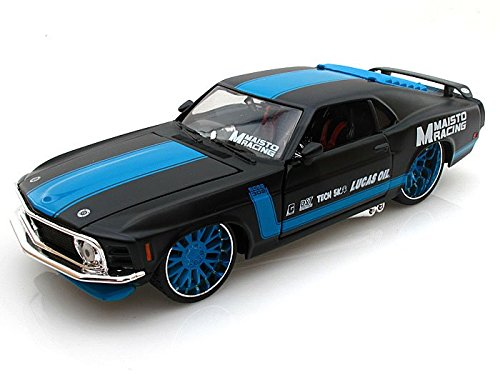 1970 Ford Mustang Boss 302 1/24 Matt Black With Blue Stripes - Maisto Diecast Models