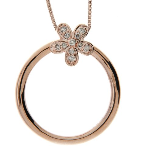 Pink Gold Plated Sterling Silver Diamond Flower Two in One Pendant Necklace and Ring, Size 7