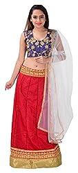Shree Mira Impex Women's Net Lehenga Choli (Red)