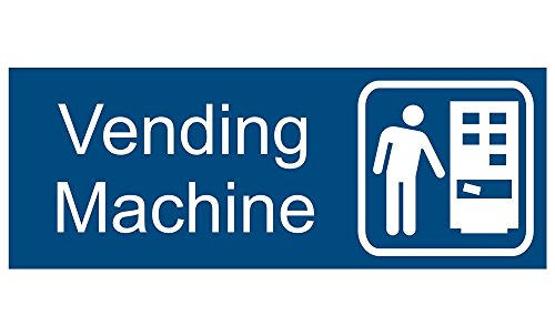 ComplianceSigns Engraved Plastic Vending Machine Sign, 8 X 3 in. with English Text and Symbol, White on Blue (Plastic Vending Machine compare prices)