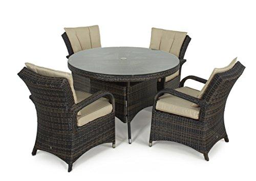 b9adea8bfbf8 Maze Rattan Texas Outdoor Garden Furniture 4 Seat Round Table Brown Rattan  Dining Set