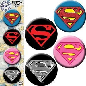 "Licenses Products DC Comics Originals Superman Assorted Artworks 1.25"" Button Set, 4-Piece"