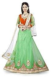 Lehenga Choli Neon Green Colour Fully Stitched Free Size Circular Style Women's Net Lehenga by Pushpila