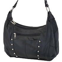 Hot Sale Concealed Carry Handbag - LARGE LOCKING GUN COMPARTMENT - Genuine Leather- BLACK