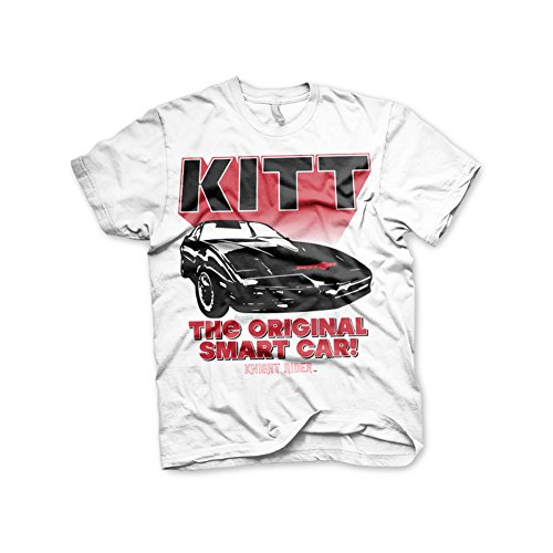Officially Licensed Merchandise Knight Rider - KITT The Original Smart Car T-Shirt (White), Small