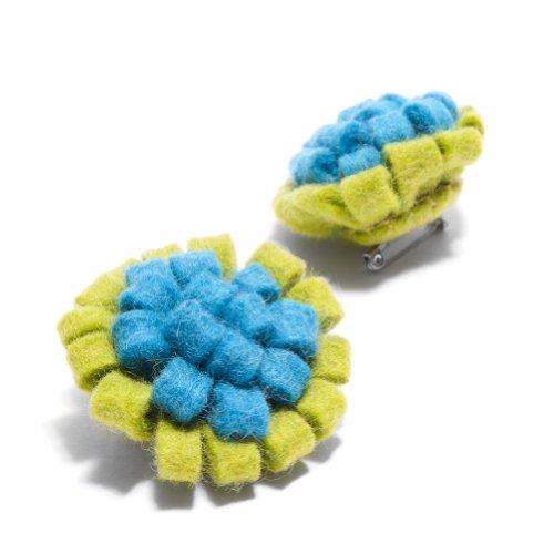 Felt Brooch in Green and Blue: Handmade & Fair Trade