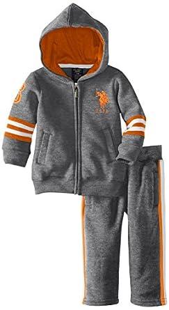 U.S. Polo Assn. Baby-Boys Infant Fleece Hoodie and Pant Set, Medium Heather Grey, 12 Months