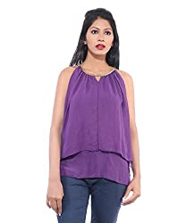 Avakasa Polyester Purple Solids Partywear Sleeveless Sleeves Top (top-15-purple)