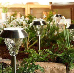 Westinghouse Set of 8 Torrence Premium Glass High-output Bright LED Solar Path and Garden Light Set – Full Stainless Steel Construction