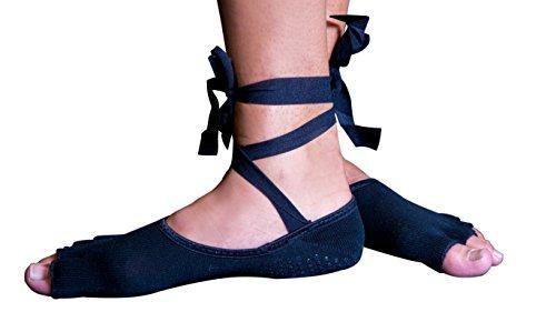 Toeless Ballet Socks | Non Slip Dance Barre Grip Socks w/ Ribbons | Yoga/Pilates Socks By Frank Frog (Black, Youth/Adult)