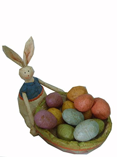 Craft Outlet Papier Mache Bunny with Twelve Eggs Figurine, 5.5-Inch
