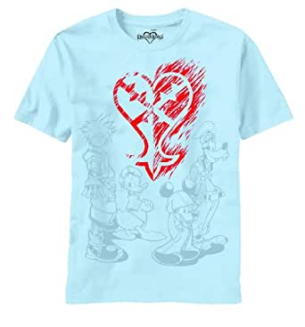 Kingdom Hearts: Heartless Ablaze Logo (S) Light Blue T-Shirts