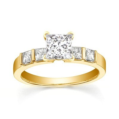 0.58 Carat Cheap Engagement Ring with Princess cut Diamond on 18K Yellow gold