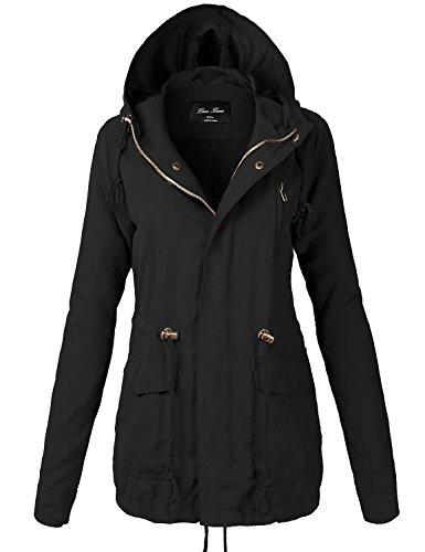 Peach Skin Waist Drawstring Hooded Zipper Utility Jackets,118-Black,Medium
