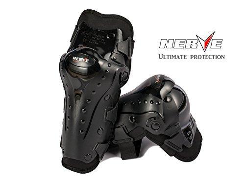 NERVE膝プロテクター バイク ニーガード 欧州安全基準 CE認証 ひざ脛あて ブラック(黒