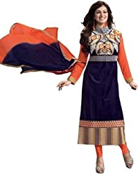 Lakshmi Fashion Creation Women's Cotton Dress Material ( Dark Blue )