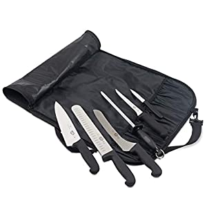 Victorinox Forschner 7 Pc Fibrox Deluxe Culinary Knife Roll Set,Black (Color: Black & Stainless Steel)