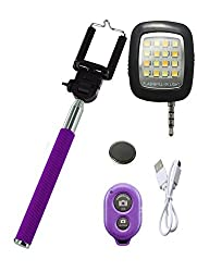 Novo Style Bluetooth Wireless Remote Shutter Selfie Stick - Purple with Universal Selfie Camera Lens For Mobiles