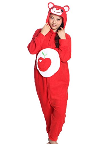 Animal Cosplay Costume Apple Bear Onesies Unisex-adult Pajamas Cartoon Sleepwear