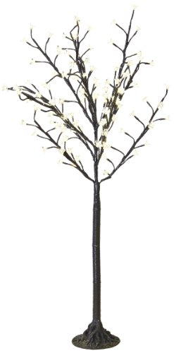 Arclite Nbl-130-6 Cherry Blossom Tree, 4.5' Height, With Black Trunk, Clear Crystals And Warm White Lights