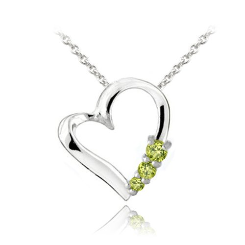 Sterling Silver Peridot Three Stone Floating Heart Necklace
