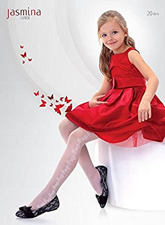 Knittex Girls White Tights Side Pattern With Lurex Age 6