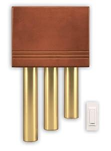 Heath Zenith SL-6187-C Wireless Door Chime Kit with Brass Finish Tubes, Solid Cherry