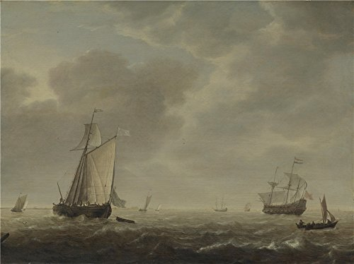 The High Quality Polyster Canvas Of Oil Painting 'Simon De Vlieger A Dutch Man Of War And Various Vessels In A Breeze ' ,size: 8 X 11 Inch / 20 X 27 Cm ,this Replica Art DecorativeCanvas Prints Is Fit For Gift For Girl Friend And Boy Friend And Home Artwork And Gifts