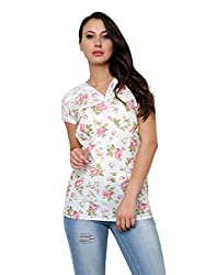 Vastrasutra White Women's Shortsleeves Floral Print Party wear Top